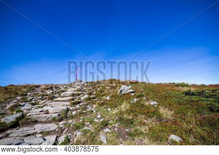 Hiking Trail To Babia Gora Mountain In Beskid Sadecki In Poland, On A Sunny Summer Day, Under Blue S