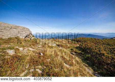 Polish Beskid Sadecki Landscape On A Sunny Summer Day, Under Blue Sky