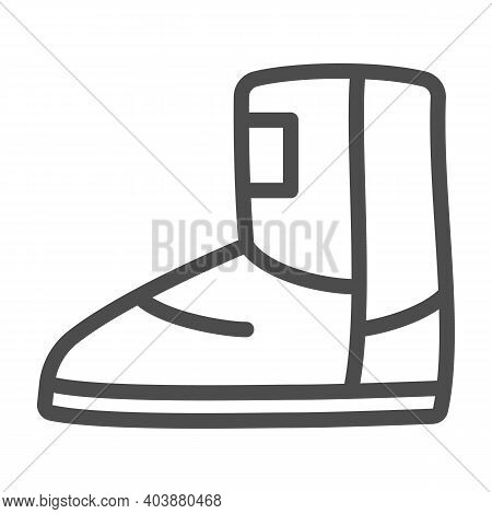 Fuzzy Winter Boot Line Icon, Winter Clothes Concept, Winter Shoes Sign On White Background, Ugg Boot