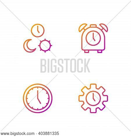 Set Line Time Management, Clock, Day And Night With Time And Alarm Clock. Gradient Color Icons. Vect