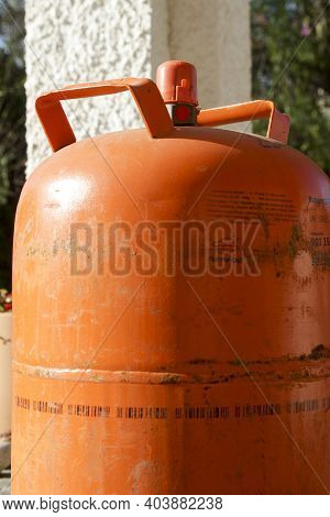Madrid, Spain- January 17, 2021:traditional Metal Butane Gas Bottle At Home In Spain