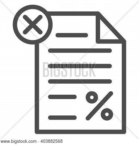 Unpaid Tax Document Line Icon, Black Bookkeeping Concept, Tax Declaration Paper Document Sign On Whi
