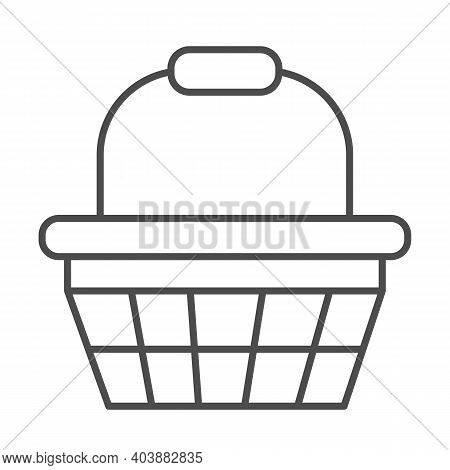 Basket With Handle Thin Line Icon, Shopping Concept, Basket Sign On White Background, Shopping Baske