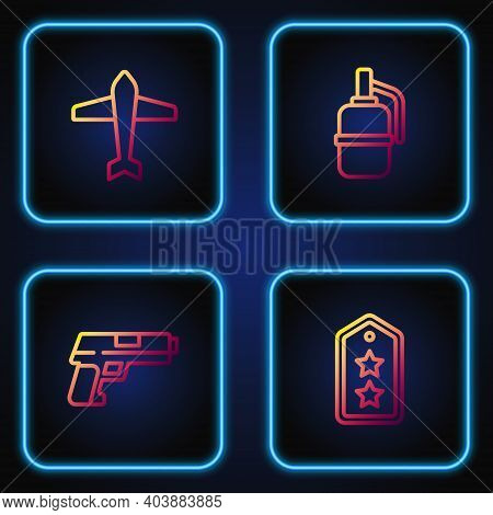 Set Line Military Rank, Pistol Or Gun, Jet Fighter And Hand Grenade. Gradient Color Icons. Vector