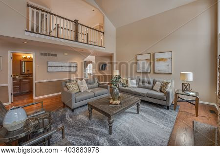 Troy, Michigan - Usa - January 8-2021: Living Room Has Been Staged In A New Home For Sale