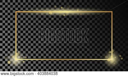 Gold Glowing Rectangular Shape Frame Isolated On Dark Transparent Background. Shiny Frame With Glowi