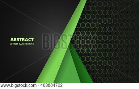 Dark Gray And Green Carbon Fiber Honeycomb Background With Green Lines. Technology Modern Futuristic