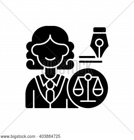 Law Department Black Glyph Icon. Dealing With Legal Affairs. Ensuring Company Legality And Complianc