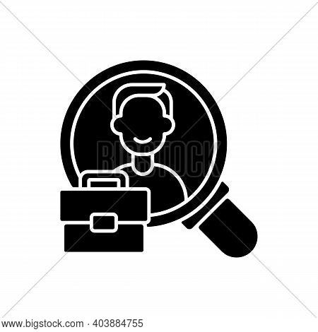 Human Resource Black Glyph Icon. Organization Workforce. Hr. Recruiting And Training Job Applicants.