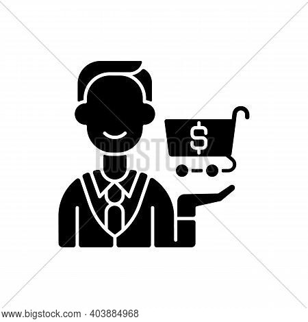 Purchasing Department Black Glyph Icon. Responsibility For Buying Goods, Products. Inventory Managem