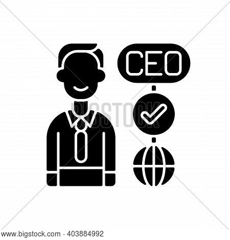 Ceo Black Glyph Icon. Chief Executive Officer. Highest-ranking Person In Company. Guiding Employees.