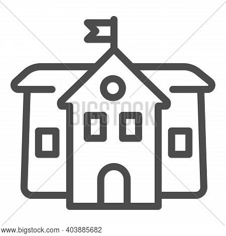 Secondary School Line Icon, Education Concept, Middle School Sign On White Background, Building Icon