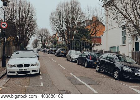 London, Uk - January 01, 2021: Cars Parked On A Street In Muswell Hill, A Suburban Area Of North Lon