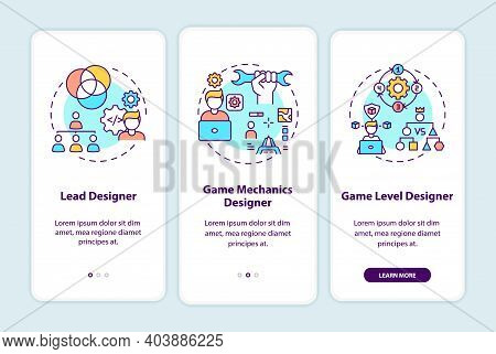 Game Designers Types Onboarding Mobile App Page Screen With Concepts. Lead Designer On Project Walkt