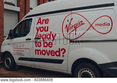 Birmingham, Uk - January 17, 2021: Virgin Media Van On A Street In Birmingham, Uk. Virgin Media Is O