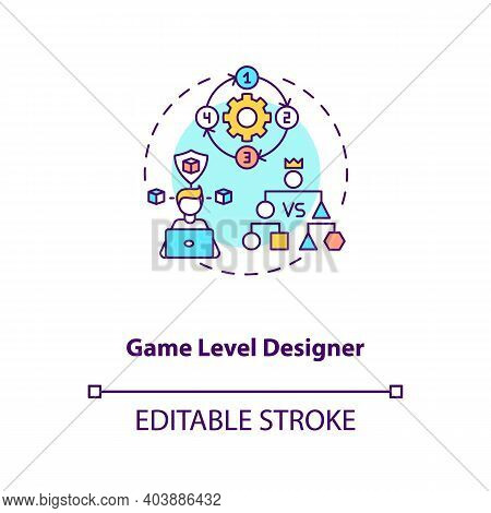 Game Level Designer Concept Icon. Game Designers Types. Makes Good Gameplay For Customers. Proffesio