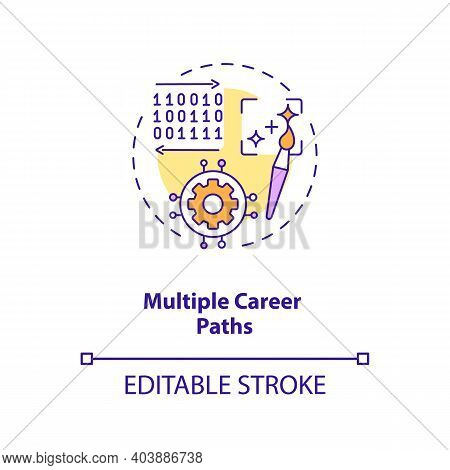 Multiple Career Paths Concept Icon. Game Design Industry Benefits. Personal Growth And Autonomy. Per
