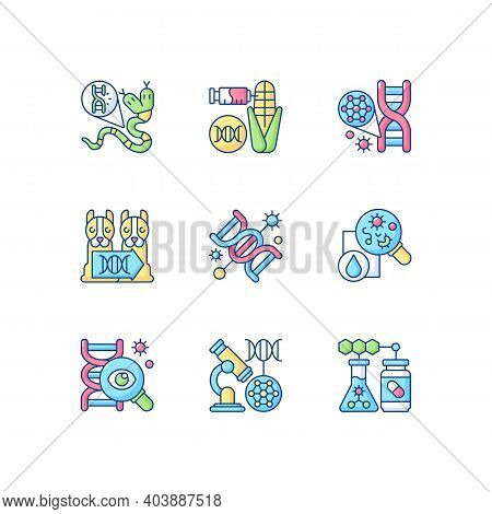 Dna Structure Experiment Rgb Color Icons Set. Genetic Mutation. Genetically Modiheredityfied Organis