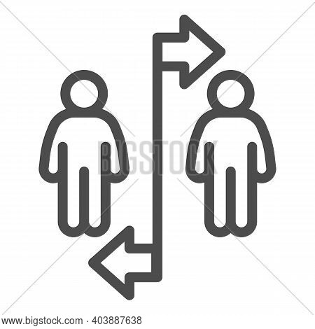 Two People Divided With Line And Arrows Line Icon, Social Distancing Concept, Sickness Prevention Si