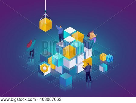 Blockchain Technology 3d Isometric Concept. Abstract Future High Tech Vector Illustration. Cryptocur