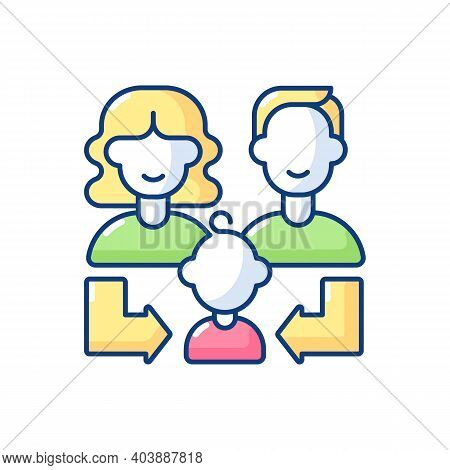 Heredity Rgb Color Icon. Human Life Reproduction. Family Generation. Couple Of Parent With Daughter,