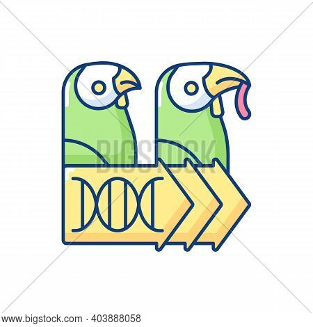 Evolutionary Genetics Rgb Color Icon. Animal Cloning. Zoology Research. Dna Experiment. Species Popu