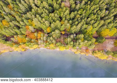 Above View Of Lake Edge And Autumn Forest. Saint Anne Lake Is The Only One Crater Lake From Romania,
