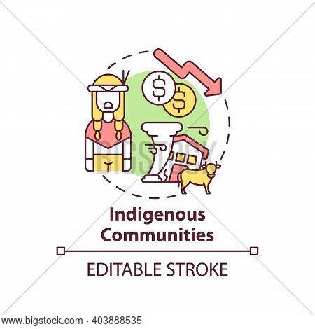 Indigenous Community Concept Icon. Climate Justice Idea Thin Line Illustration. Culturally Distinct