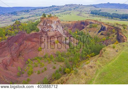 Aerial View Of Volcanic Crater, Sleeping Volcano Panorama. Volcanic Activity Took Place In Romanian