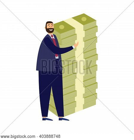 Rich Businessman With Huge Stack Banknotes A Flat Vector Isolated Illustration