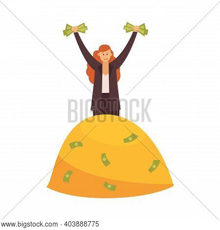 Rich Woman On Pile Of Money - Wealthy Cartoon Businesswoman