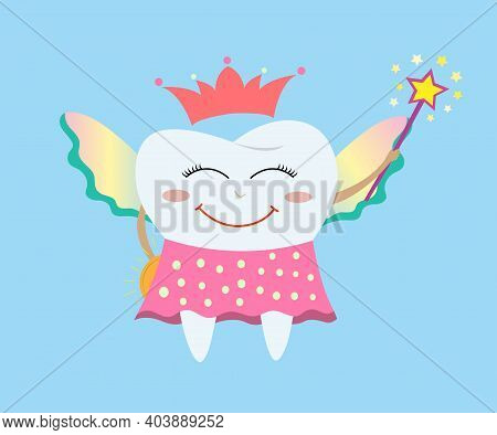 Tooth Fairy Wearing A Polka Dot Skirt, Crown And Holding A Star Magic Wand And Coin. Tooth Fairy Fli