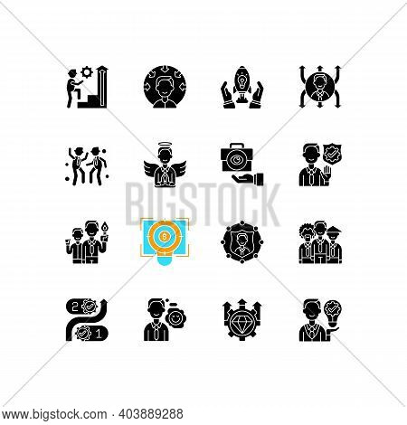 Core Values Black Glyph Icons Set On White Space. Persistence And Determination In Work. Business Tr