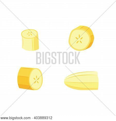 Cut Banana Slice Set With And Without Peel. Isolated Pieces Of Fruit