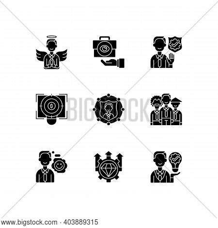 Service With Integrity Black Glyph Icons Set On White Space. Humility, Service Integrity. Business T