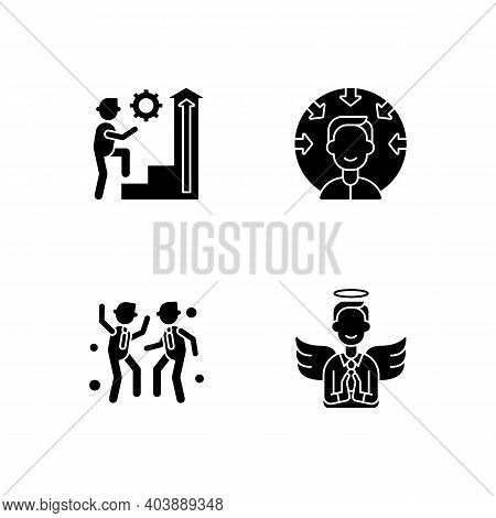 Business Vision Black Glyph Icons Set On White Space. Employee Persistence. Customer Centricity. Off