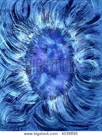 Abstract Floral Blue Painting