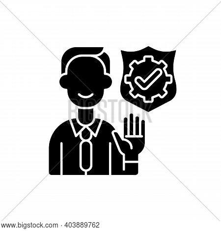 Integrity Black Glyph Icon. Company Employee Accountability. Core Corporate Values. Business Ethics.