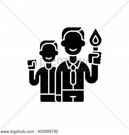 Commitment Black Glyph Icon. Employee Resolve. Organization Worker Accountability. Core Corporate Va