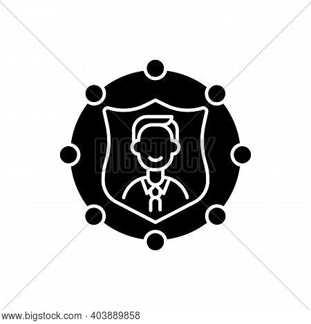Accountability Black Glyph Icon. Trust In Business. Company Ethics And Policy. Liability, Service In