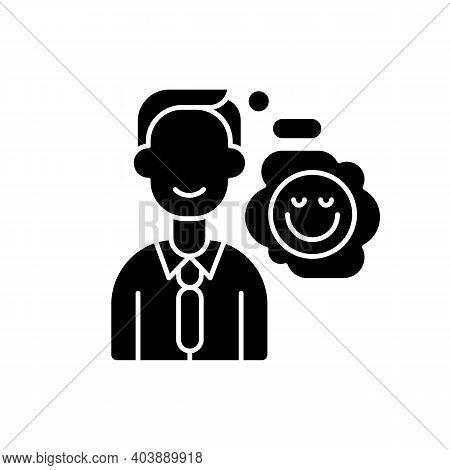 Positive Attitude Black Glyph Icon. Optimistic Employee. Personal Achievement. Core Corporate Values