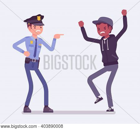 Conflict Of Interest For Policeman And Criminal. Police Abuse, Excessive Use Of Force Dealing With Y