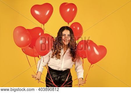 Feeling Playful. Surprise With Love. Helium Balloon For Party. Happy Valentines Day. Girl Got Heart