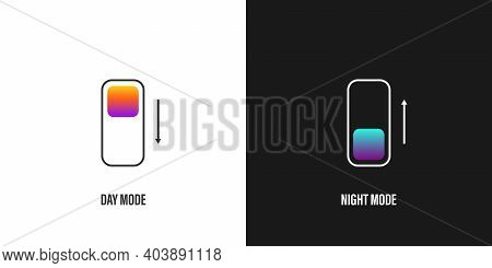 Dark Mode Switch Icon. App Interface Design Concept. Day And Night Mode Gadget Application. Vector I