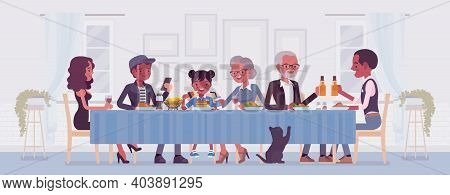 Big Happy Black Family Eating Festive Dinner At Table. Holiday Gathering For Many People Of Differen