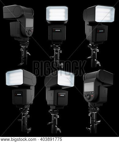Camera External Flash Speedlight On Stand Isolated On Black Background With Clipping Path. 3d Render