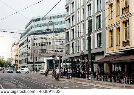 Berlin, Germany - July 30, 2019: Street Scene In Rosa-luxemburg Strasse, A Trendy Shopping Area In C