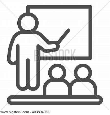 Teacher At The Blackboard And Students Line Icon, Education Concept, Lesson In The Class Sign On Whi