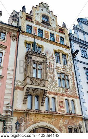 Old Palace In The Old Town Square In Prague.  The Storch House In Prague Is Located In The Old Town