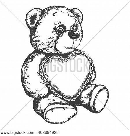 Teddy Bear With A Heart In Paws Hand Drawn Vector Illustration Realistic Sketch
